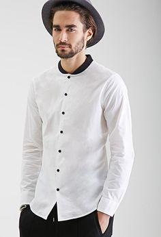 $19.90-Baseball Collar Dress Shirt   21 MEN - 2000099339