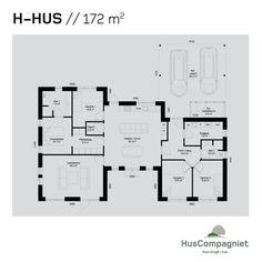 Hvordan skal dit nye hjem se ud? Se en plantegning over vores smukke H-hus på 154 m2, der kan tilpasses efter dine og familiens behov.