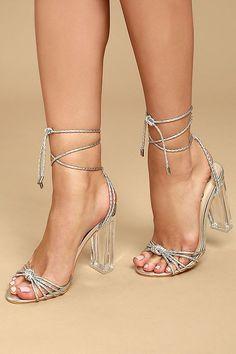 b62f521e9148 Melisenda Silver Lucite Lace-Up Heels