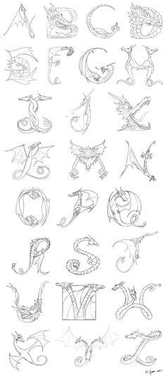 dragon alphabet by gxiong.deviantart.com on @deviantART