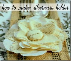 Tutorial for making this script flower and burlap silverware holder - The Graphic Fairy DIY