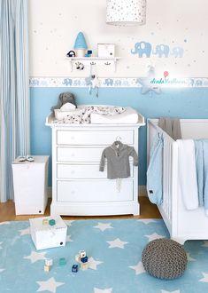 Wunderbar Babyzimmer Wandgestaltung, Lampen Und Textilien Mit Elefanten Und Sternen  In Hellblau/grau