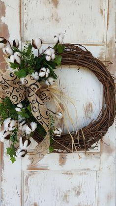 Front Door Wreath, cotton boll, summer wreath, cotton boll Wreath, Door Wreath, farmhouse Wreath, rustic wreath, farmhouse wedding by FarmHouseFloraLs on Etsy