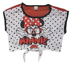 Disney Minnie Mouse 'Minnie With Glasses' Youth Girls Front Tie Crop Top T Shirt