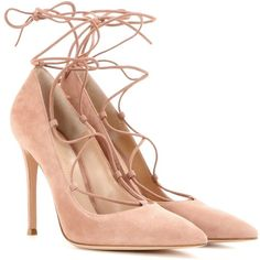 Gianvito Rossi Femi Lace-Up Suede Pumps (€765) ❤ liked on Polyvore featuring shoes, pumps, neutrals, laced shoes, suede lace up shoes, lace up pumps, lace up shoes and gianvito rossi