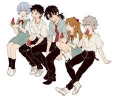 Rei x Shinji x Kaji x Asuka x Kaworu Neon Genesis Evangelion, Evangelion Tattoo, Evangelion Kaworu, Hunter Manga, Goku Dragon, Dragon Ball, Girls Manga, Asuka Langley Soryu, Rei Ayanami