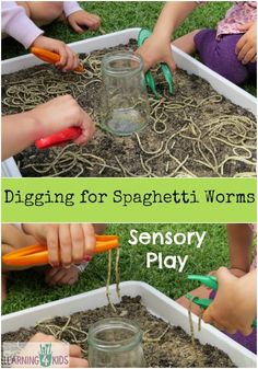 Digging for Spaghetti Worms Sensory Play - Kids will have so much fun catching all the slippery and slimy spaghetti worms with tweezers and putting them into a jar. OR JUST LET THEM DIG IN REAL DIRT FOR REAL WORMS. Reggio Emilia, Sensory Table, Sensory Bins, Sensory Bottles, Spring Activities, Outdoor Preschool Activities, Family Activities, Joseph Activities, Preschool Bug Theme