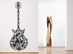 Wandtattoo Gitarre aus Dreiecken von WANDTATTOO.DE #Musik #Dreiecke #Gitarre