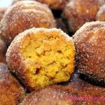 Pumpkin Poppers dunked in butter and cinnamon/sugar mixture