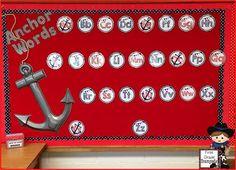 Unveil (Finally) & Meet the Teacher Night Anchor Words (Word Wall) - Super cute idea for a Nautical Themed Classroom!Anchor Words (Word Wall) - Super cute idea for a Nautical Themed Classroom! First Grade Classroom, New Classroom, Classroom Design, Kindergarten Classroom, Classroom Themes, Classroom Organization, Sailing Classroom Theme, Nautical Bulletin Boards, Zack E Cody