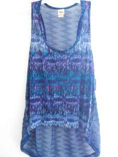 e9b0104ec925a Mossimo Women s Long Flowing Blue Tank Top Cami Fishnet Size XXL In Clothing  New Fishnet