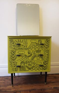 Idea for KDS—Similar, plus paint outline/frame black, too? || Vintage Retro Upcycled Chest of Drawers.