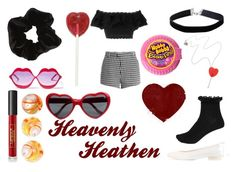 Heavenly Heathen by scarydinosaurkid on Polyvore featuring polyvore, Alexander McQueen, Sandy Liang, River Island, Astraet, Tatty Devine, Miss Selfridge, Wildfox, Lipstick Queen, fashion, style and clothing