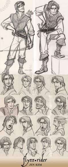 Flynn Rider by jin kim © Disney Animation Studios — Character concepts, facial expression Art Disney, Disney Kunst, Disney Tangled, Punk Disney, Princess Disney, Disney Princesses, Disney Style, Tangled Rapunzel, Tangled