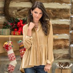 """LOVE AT FIRST SIGHT TUNIC--Vintage meets modern in our romantic, updated silhouette, a flirty hi-lo peplum blouse with a hidden placket. Nylon/silk. Dry clean. Imported. Exclusive. Sizes XS (2), S (4 to 6), M (8 to 10), L (12 to 14), XL (16). Front approx. 26""""L, back approx. 28""""L."""