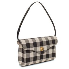 4a9d2a0cbad8 Italian cotton canvas checker black baguette bag with vegetabled tanned  leather top flap. Gusseted sides