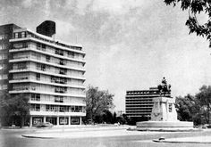 Intersection of Reforma Avenue with Melchor Ocampo St. And Mariano Escobedo St. Polanco Mexico City 1950s. The statue is Simon Bolivar now removed. The building to the left is now demolished.