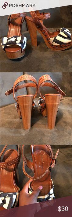 Jessica Simpson TERRII sandal Navy/Sailor Strip summer sandal. Worn but good condition. Comfortable. Jessica Simpson Shoes Sandals