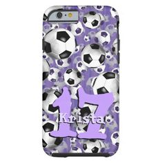 "Her friends'll be like, ""Where'd you get that case?""  Cool Soccer Ballz! Tough iPhone 6 Case ~ A soccer player's dream or goaltender's nightmare! Soccer balls pattern case with a subtle striped background in shades of purple and customizable jersey number and name by katz_d_zynes"