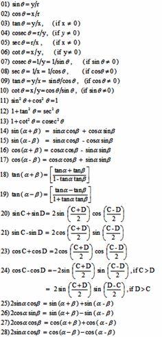 Miraculous world of Numbers: List of Formulas - 01 Grade 11 and 12 Trigonometry. Maths Formulas List, Maths Algebra Formulas, Math Vocabulary, Math Math, Basic Physics Formulas, Differentiation Formulas, Math Formula Sheet, Formula Chart, Math Quotes