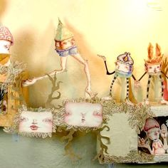 Paper Sculpture Diorama Gingerbread Houses Elves Folklore Anthropomorphic Houses and Animals by Danielle O'Malley