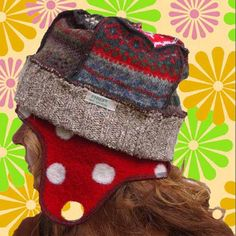 Your place to buy and sell all things handmade Recycled Sweaters, Wool Sweaters, Wool Felt, Felted Wool, Flap Hat, Sweater Hat, Crafts To Make, Knitted Hats, Winter Hats