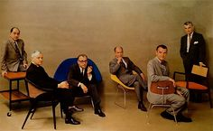 1961 Playboy Magazine photo: George Nelson, Edward Wormley, Eero Saarinen, Harry Bertoia, Charles Eames, and Jens Risom.