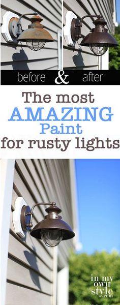 Outdoor Light Fixture Makeover Using Metallic Paint | InMyOwnStyle.com