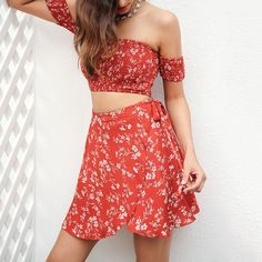 Sexy Print Off Shoulder Two-Piece Set Dress Bikini – ebuytide Two Piece Sets, Two Piece Skirt Set, Beachwear Fashion, Summer Trends, Sexy Dresses, Womens Fashion, Fashion Trends, High Waisted Skirt, Chiffon