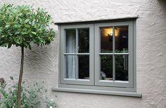 New Double Glazed Wooden Casement Windows - Timber Windows Esher, Surrey Cottage Windows, Cottage Door, Cottage Exterior, House Windows, Cottage Homes, Wooden Casement Windows, Timber Windows, Windows And Doors, Grey Windows