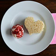 heart shaped tea sandwich - cucumbers, cream cheese and turkey