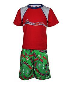 Take a look at this Red & Green Train Short Pajama Set - Toddler & Boys by Mini ZZZ on #zulily today!