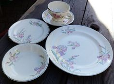 Universal Cambridge 5 PC Place Setting Iris Pattern w Platinum Rim | eBay
