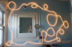 Rope lights in bathroom
