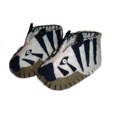 Fair Trade Zebra Felt Zooties Baby Booties handmade by artisans in Kyrgyzstan available at Alternatives Global Marketplace