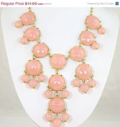 Pink Bubble Necklace, Light Pink Necklace, Statement Necklace (FN0613-Pink)
