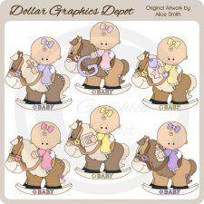 Caballo de oscilación de los bebés - Clip Art - * * Exclusivo DGD