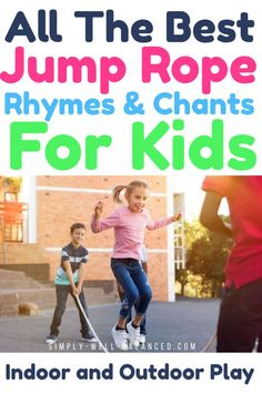 Tons of your favorite jump rope rhymes and chants from your childhood. These jump rope songs are perfect to keep your kids busy and moving. These kids jump rope rhymes will have them laughing and playing for hours. Jump Rope Songs, Jump Rope Games, Kids Jump Rope, Best Jump Rope, Primary Activities, Fun Activities For Kids, Outdoor Activities, Playground Games, Outdoor Games For Kids