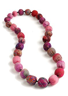 "Silk Kantha Beads Long Necklace"" Silk Necklace Created by Mieko Mintz"