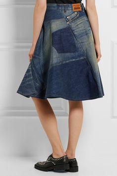 Junya Watanabe   Patchwork denim skirt   NET-A-PORTER.COM