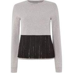 Sportmax Code Pina fringed sweatshirt (€195) ❤ liked on Polyvore featuring tops, hoodies, sweatshirts, grey, women, gray crewneck sweatshirt, grey sweat shirt, crew neck sweat shirt, gray top and cotton sweat shirts