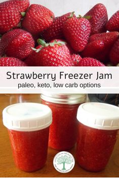 Strawberry Freezer Jam with Paleo and Keto Options When strawberries are in season, this strawberry freezer jam is a MUST make! Super simple and so tasty! The Homesteading Hippy Sugar Free Strawberry Jam, Strawberry Freezer Jam, Strawberry Jam Recipe, Strawberry Preserves, Strawberry Jelly, Freezer Jam Recipes, Canning Recipes, Freezer Food, Keto Friendly Desserts