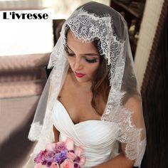 Simple White Ivory Tulle Wedding Veils one Layer Eyelash Lace Edge Bridal Veils Custom Made Bridal Accesories #hats, #watches, #belts, #fashion, #style