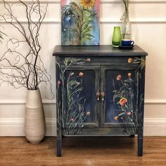 Painted with chalk and clay paint then finished with 3 coats of fusion tough coat for protection. This doesn't in my opinion take anything away from this cute piece of furniture and could always be used for this again. Hand Painted Furniture, Paint Furniture, Upcycled Furniture, Vintage Furniture, Home Furniture, Wooden Bathroom Cabinets, Cabinet Boxes, Cupboard Storage, Love Painting