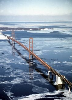 Guest Pin...Mackinac Bridge.  Went over this on our 4,000 mile Harley trip.  Open grate.  Frightful!