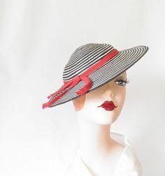 Tilt hat vintage 1940s black and white by TheVintageHatShop, $54.00