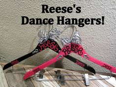 custom painted hangers for CHEER squads and competitions, DANCE teams, POM squads, or drill teams--Laura Moore did these for the Cubs and they were awesome! Dance Comp, Cheer Dance, Dance Recital, Just Dance, Dance Crafts, High School Dance, Tiny Dancer, Team Gifts, Dance Costumes