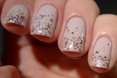 Pinned from www.lovevarnish.com A glitter gradient using Shimmer Sonia and OPI Don't Bossa Nova Me Around