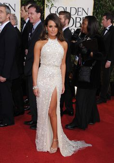 Lea Michele in Elie Saab. Golden Globes 2013