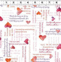 Hearts and Words on White Valentines Day Fabric by StashTraders